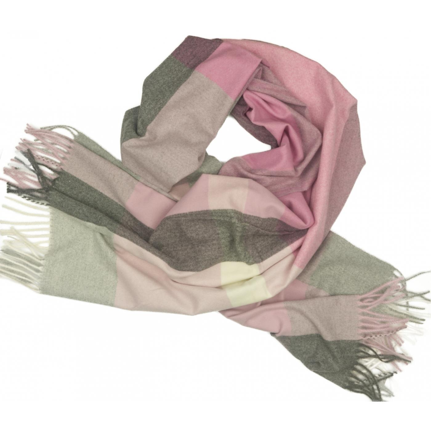 Duży szal w kratę Sheryl - różowy/szary/ecru