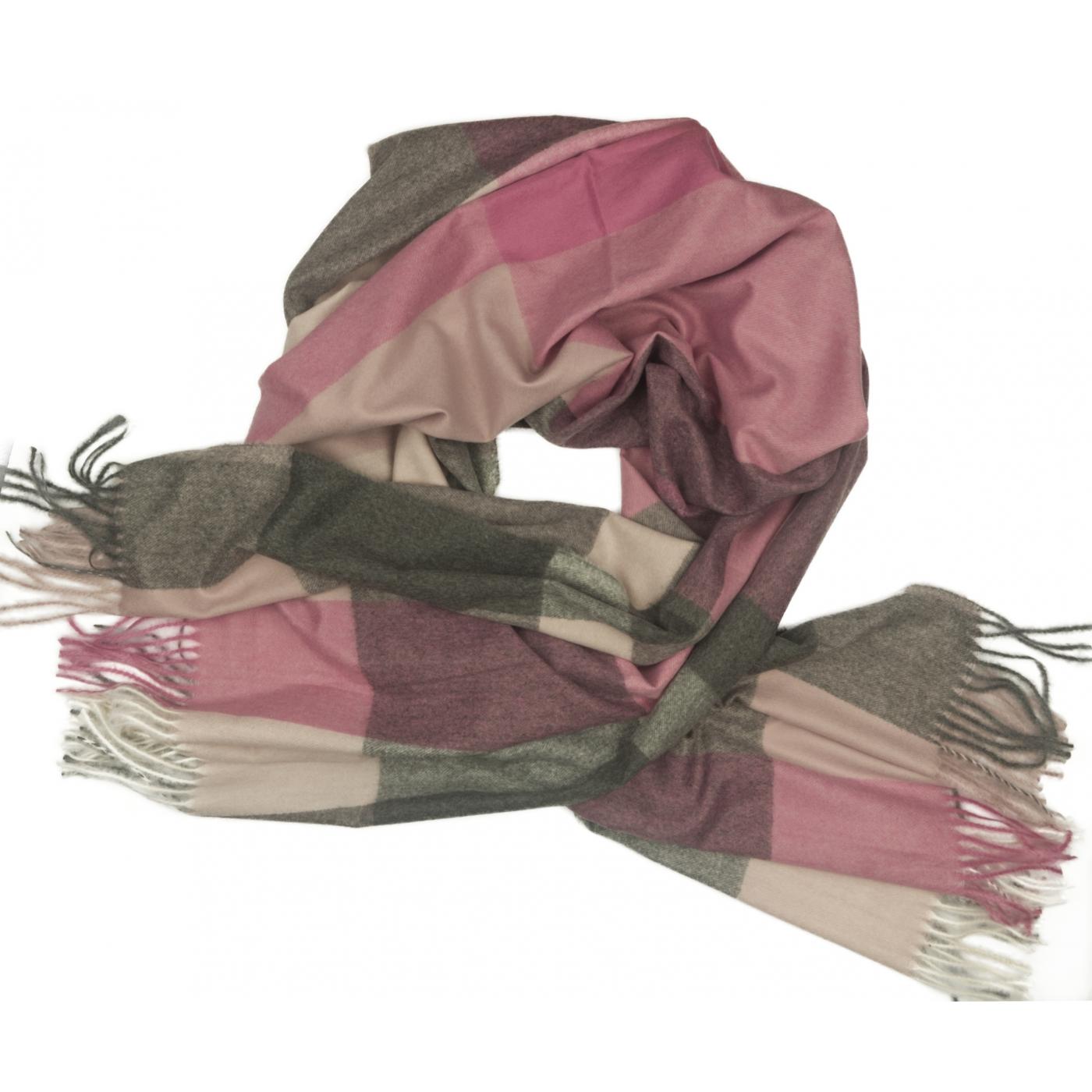 Duży szal w kratę Sheryl - odcienie różu/szary/ecru