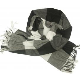 Duży szal w kratę Sheryl - czarny/biały/szary