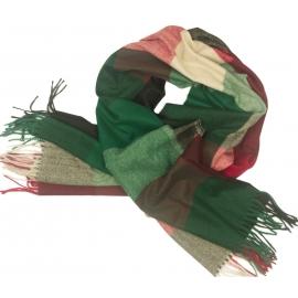Duży szal w kratę Sheryl - zielony/bordo/czarny/beż