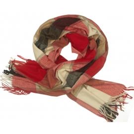 Duży szal w kratę Sheryl - czerwony/ecru/czarny