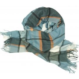 Duży szal w kratę Sheryl - blady niebieski/oranż/biały/czarny