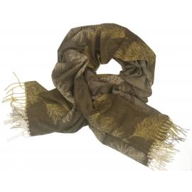 Duży szal w pióra - brązowy/beżowy/miodowy