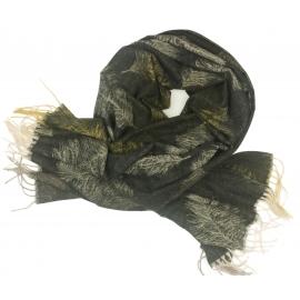 Duży szal w pióra - czarny/beżowy/miodowy