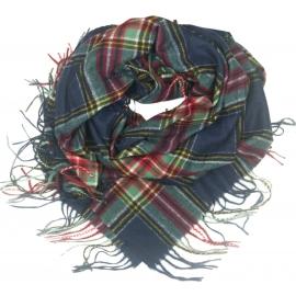 Duża chusta szal w kratę Elisa - granat/zielony/czerwony/czarny/żółty (rozmiar XL)