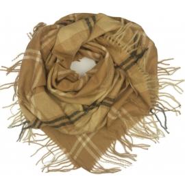 Duża chusta szal w kratę Elisa - karmelowy/beż/czarny (rozmiar XL)