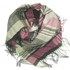 Duża chusta szal w kratę Elisa - róż/szary/czarny/ecru (rozmiar XL)