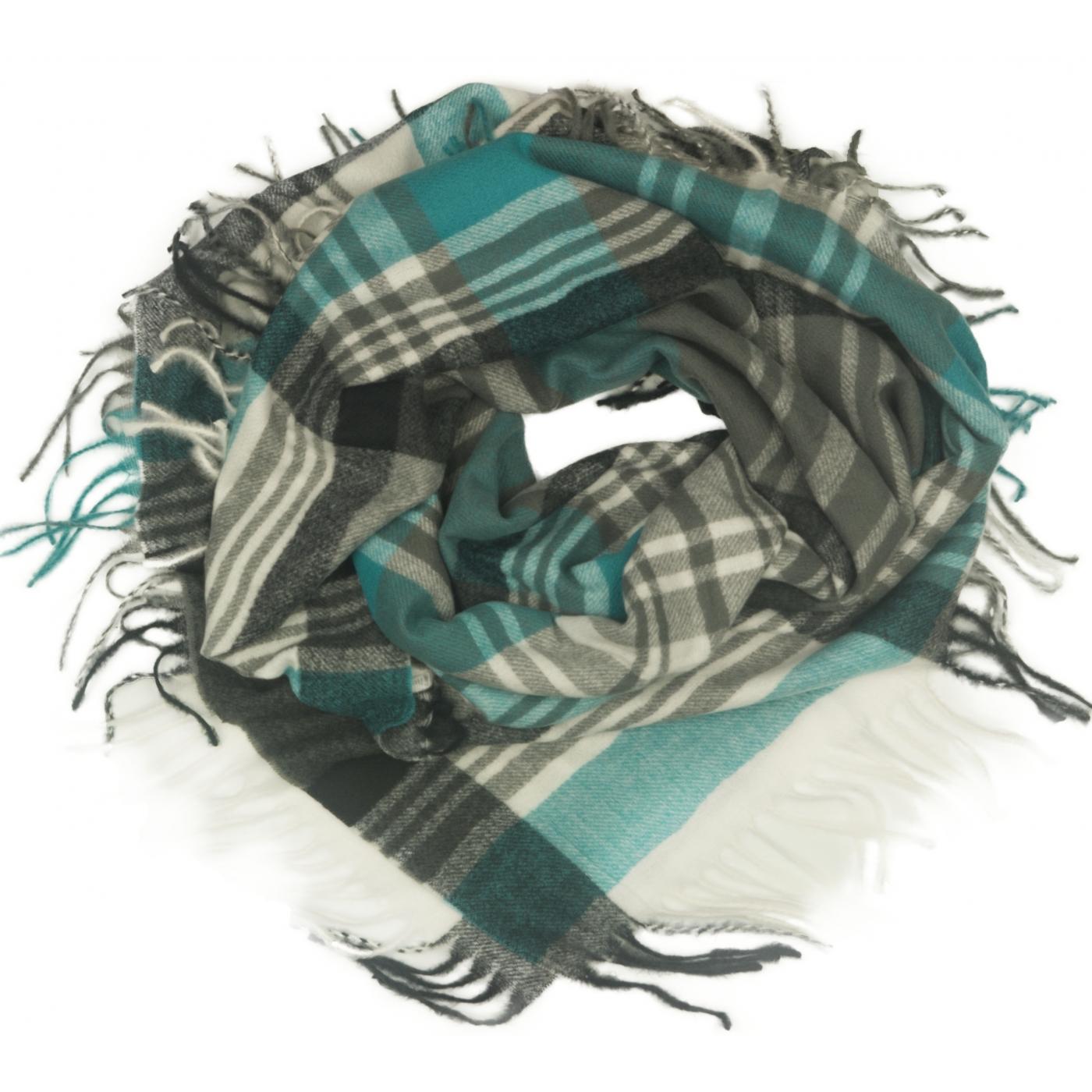 Duża chusta szal w kratę Elisa - turkusowy/szary/czarny/ecru (rozmiar XL)