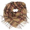 Duża chusta szal w kratę Elisa - karmelowy/czerwony/czarny (rozmiar XL)