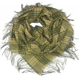 Duża chusta szal w kratę Elisa - musztardowy/szary (rozmiar XL)