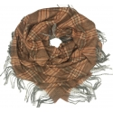 Duża chusta szal w kratę Elisa - brązowy/łososiowy (rozmiar XL)