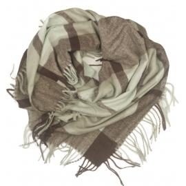 Duża chusta szal w kratę Elisa - różowy/szary/ecru (rozmiar XL)