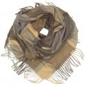 Duża chusta szal w kratę Elisa - karmelowy/szary/brązowy (rozmiar XL)