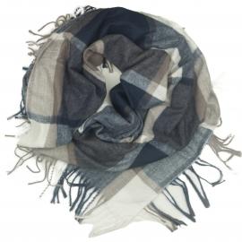 Duża chusta szal w kratę Elisa - granatowy/cappuccino/kremowy (rozmiar XL)