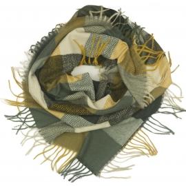 Duża chusta szal w kratę Elisa - grafitowy szary/musztardowy/beż (rozmiar XL)