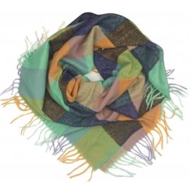 Duża chusta szal w kratę Elisa - miętowy/oranż/granat (rozmiar XL)