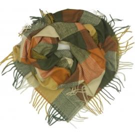 Duża chusta szal w kratę Elisa - musztardowy/rudy/khaki (rozmiar XL)