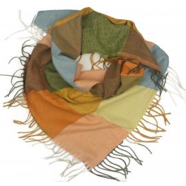 Duża chusta szal w kratę Tiffi - żółty/oranż/niebieski (rozmiar L)