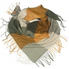 Duża chusta szal w kratę Tiffi - złoty/szary/kremowy (rozmiar L)