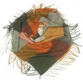 Duża chusta szal w kratę Tiffi - złoty/oranż/szary (rozmiar L)