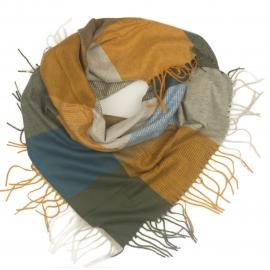 Duża chusta szal w kratę Tiffi - złoty/szary/niebieski/krem (rozmiar L)