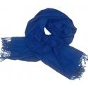 Ciepły szal Lotta z frędzelkami - niebieski szafirowy