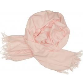 Ciepły szal Lotta z frędzelkami - jasny różowy