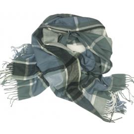 Duży szal w kratę Sheryl - blady niebieski/biały/grafitowy
