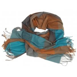 Duży szal w kratę Sheryl - turkusowy/rudy/brązowy