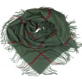 Duża chusta szal w kratę Elisa - khaki/zielony/bordo (rozmiar XL)