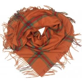 Duża chusta szal w kratę Elisa - pomarańczowy/zielony/bordo (rozmiar XL)