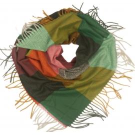 Duża chusta szal w kratę Tiffi - zielony/musztardowy/czerwony (rozmiar L)