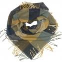 Duża chusta szal w kratę Tiffi - grantowy/musztardowy/beż (rozmiar L)