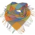 Duża chusta szal w kratę Tiffi - turkus/oranż/seledyn/fiolet (rozmiar L)