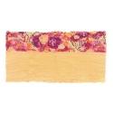 Szalik komin w kwiaty – beżowy z amarantem