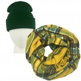 Komplet Benita zielona czapka damska 2w1 i szalik komin w kratę musztardowy/zielony