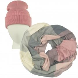 Komplet Benita różowa czapka damska 2w1 i szalik komin w kratę brudny róż/szary