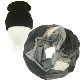 Komplet Benita czarna czapka damska 2w1 i szalik komin w kratę czarny/szary