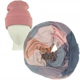 Komplet Benita różowa czapka damska 2w1 i szalik komin w kratę brudny róż/jeans/karmel