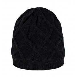 Puszysta czapka damska Xenia w rombowy wzór - czarna