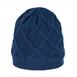 Puszysta czapka damska Xenia w rombowy wzór - niebieska