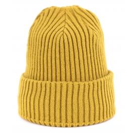 Czapka zimowa damska w prążki Agnes - żółta