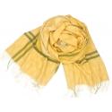 Duży szal w jodełkę i ornamenty - żółty/ecru/khaki