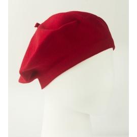 Damski dzianinowy beret Polka – czerwony