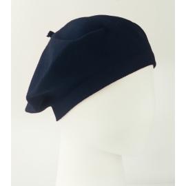 Damski dzianinowy beret Polka – granatowy
