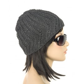 Ciepła damska czapka zimowa – grafitowa