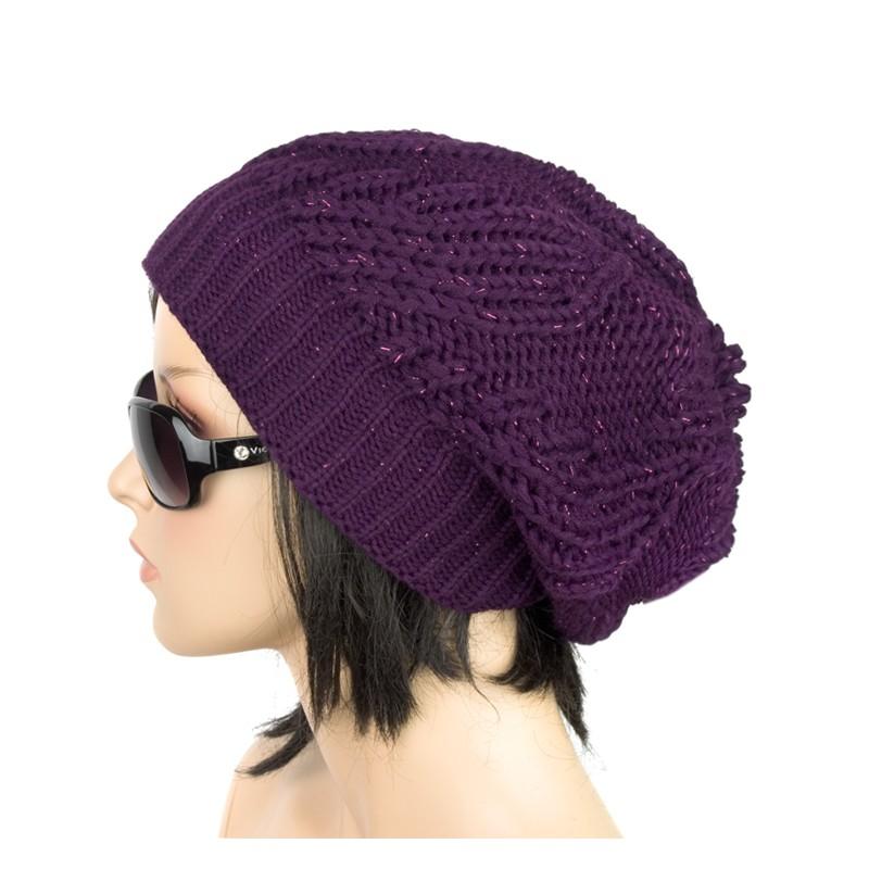 Damska wisząca czapka zimowa Kora – śliwkowa fioletowa