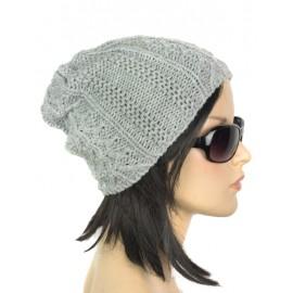 Damska zimowa czapka krasnal – popielata