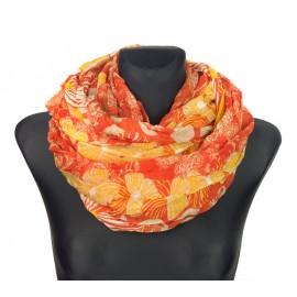 Komin w folkowe wzory i kwiaty – pomarańczowy