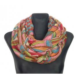 Komin szalik w kolorowe wzory – różowy
